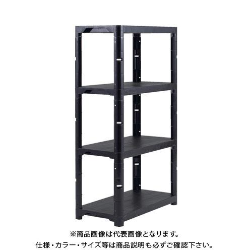 【運賃見積り】【直送品】 TRUSCO プラ棚 高さ1800-4段タイプ コーナーキャップ4個付 黒 TPT-6344C-BK