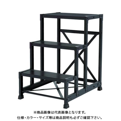 【運賃見積り】【直送品】TRUSCO 作業用踏台 アルミ製・高強度タイプ 1段 ブラック TSF-153-BK