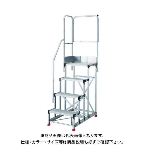 【運賃見積り】【直送品】TRUSCO 踏台 4段本体 階段片手すり天場三方1100 TSF-4612TE6-11