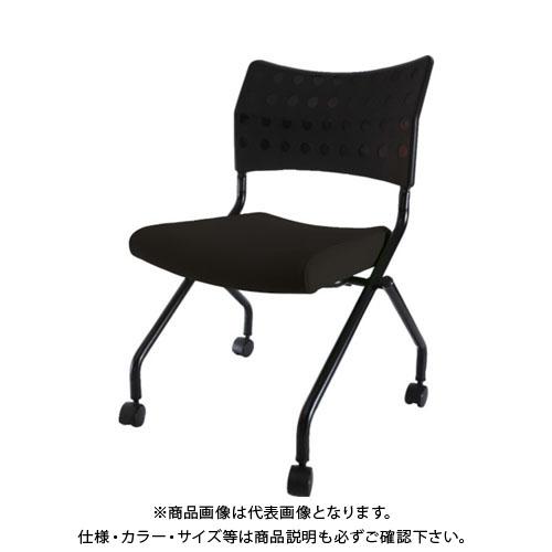 【個別送料1000円】【直送品】TRUSCO スタッキングチェア キャスター付 ブラック TSCC-2N-BK