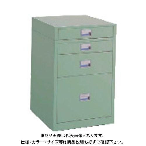 【直送品】TRUSCO 作業台用サイドキャビネット 4段 グリーン UDC-111-01