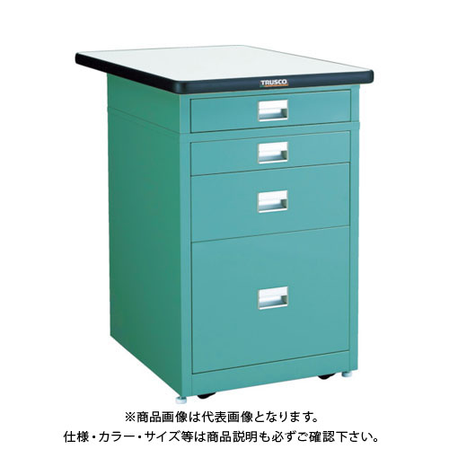 【直送品】TRUSCO 作業台用サイドキャビネット ダップ天板付 500X750 グリーン UDCT-111-0175P GN