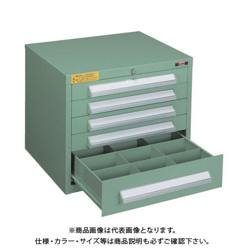 【個別送料1000円】【直送品】 TRUSCO WLVR型キャビネット 500X412XH420 引出5段 緑 WLVR-423:GN