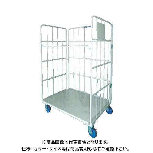 【直送品】ワコー 床板スチール製カゴ車 850×600×1700 WK4-85