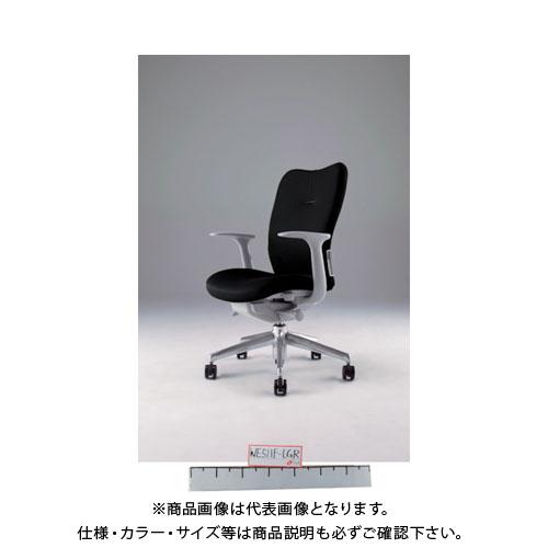【運賃見積り】【直送品】 ナイキ ミドルバックチェアー 「エネア」 肘付き 布 ブラック ZE511F-BK