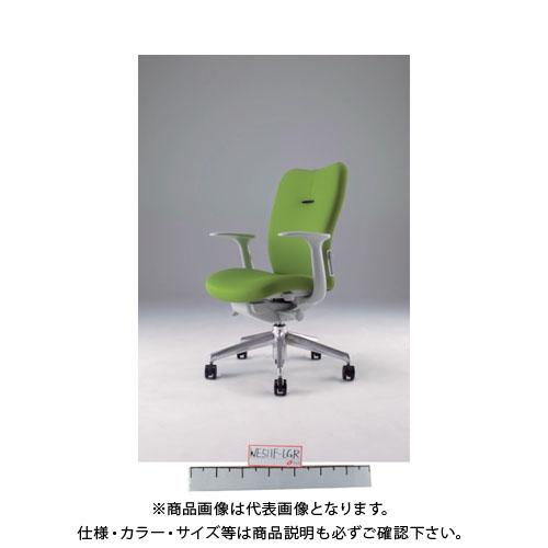 【運賃見積り】【直送品】 ナイキ ミドルバックチェアー 「エネア」 肘付き 布 ライトグリーン ZE511F-LGR