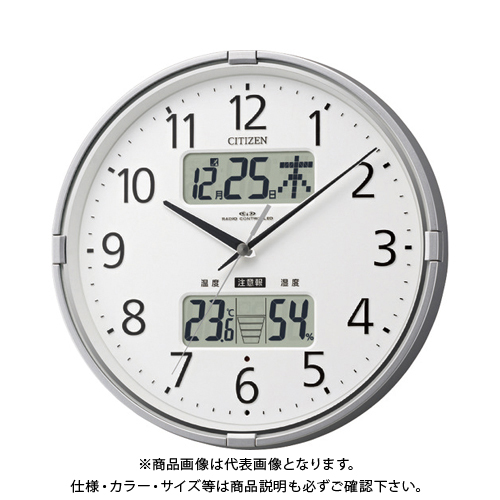シチズン 電波掛時計(温度・湿度・カレンダー表示付) 4FY618-019