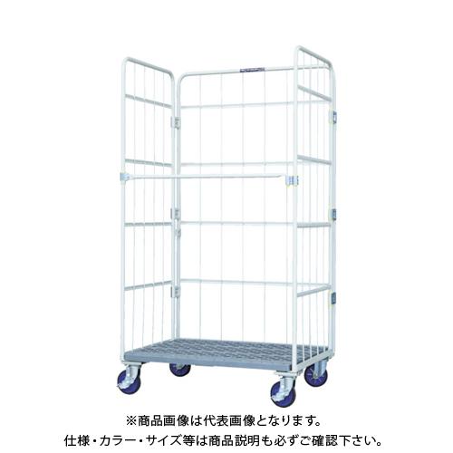 【運賃見積り】 【直送品】 ワコー 床板プラスチック製カゴ車 1100x800x2000 WKP-1180H