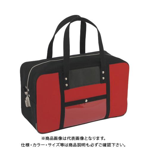 SANEI 帆布メール用ボストン(L)SED-1錠付 赤 BTL-SED-02