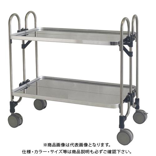 【運賃見積り】 【直送品】 トクヤマ ステンレス(SUS430)折りたたみ式ワゴン933*505*838-2段 FEAW-2