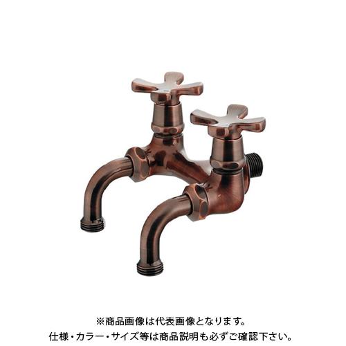 カクダイ ガーデン用双口ホーム水栓(ブロンズ) 705-104-13