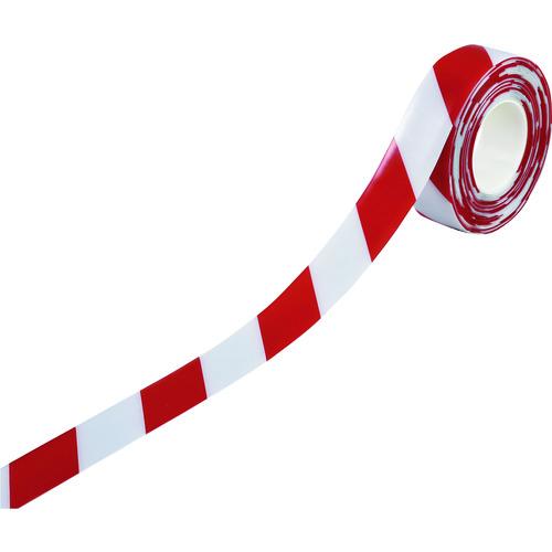 緑十字 高耐久ラインテープ 白/赤 50mm幅×10m 両端テーパー構造 屋内用 403078