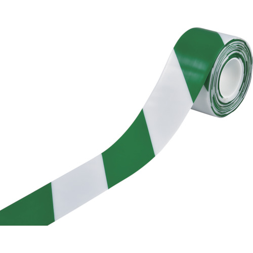 緑十字 高耐久ラインテープ 白/緑 100mm幅×10m 両端テーパー構造 403089