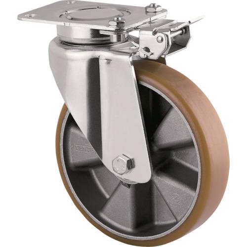 テンテキャスター 重荷重用高性能旋回キャスター(ウレタン車輪) φ160 自在式(方向ロック付) 3641ITP160P63 CONVEX