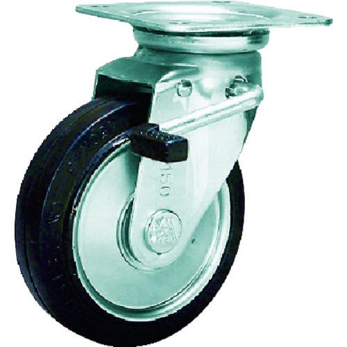 シシク スタンダードプレスキャスター ゴム車輪 自在ストッパー付 250径 WJB-250