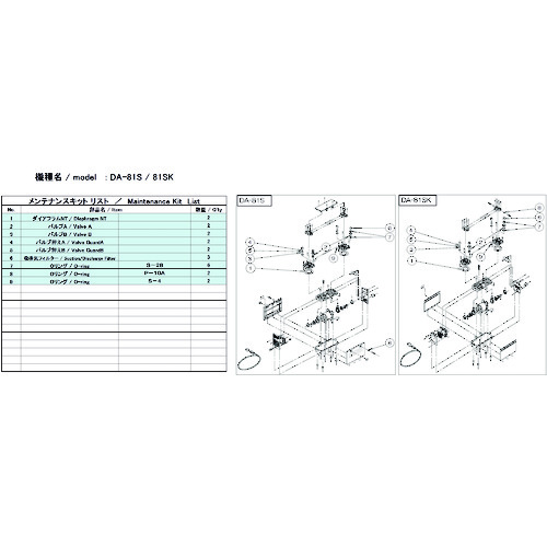 ULVAC DA-81S/81SK用メンテナンスキット DA-81S/81SK MAINTENANCEKIT