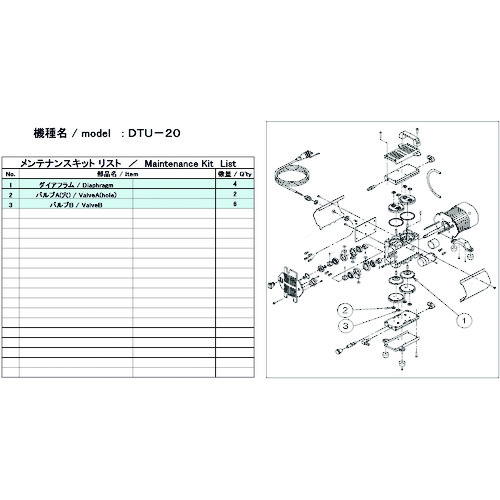 ULVAC DTU-20用メンテナンスキット DTU-20 MAINTENANCEKIT