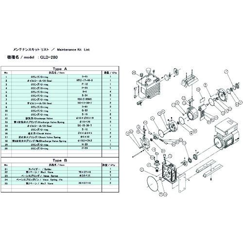 ULVAC GLD-280/280A/280B用メンテナンスキットB GLD-280A MAINTENANCEKIT B