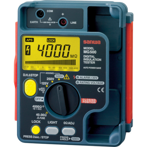 SANWA デジタル絶縁抵抗計 500V/250V/125V MG500