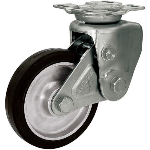 シシク 緩衝キャスター 固定 200径 ゴム車輪 SAK-TO-200TRAW
