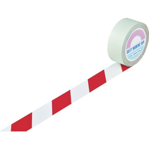 緑十字 ラインテープ(ガードテープ) 白/赤 50mm幅×100m 屋内用 148063
