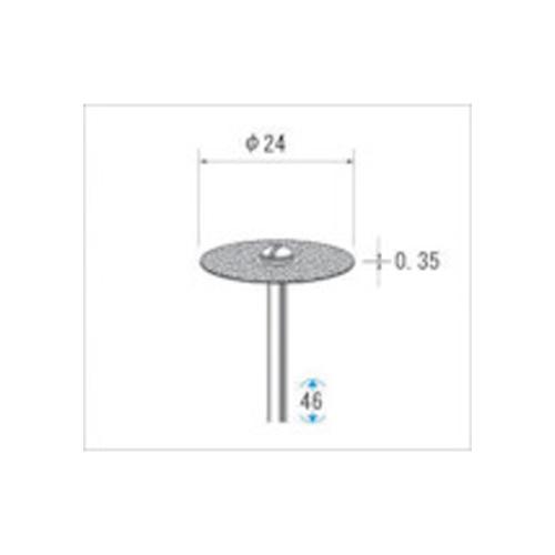 ナカニシ 電着ダイヤモンドディスク#130刃径24×刃長0.35×軸径2.34 14304
