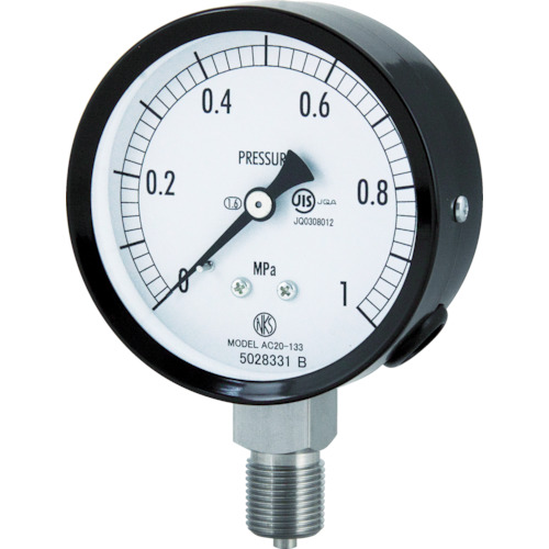 長野 普通形圧力計(A枠立形・φ75・G3/8B・0.0~10.00Mpa) AC20-133-10.0MP