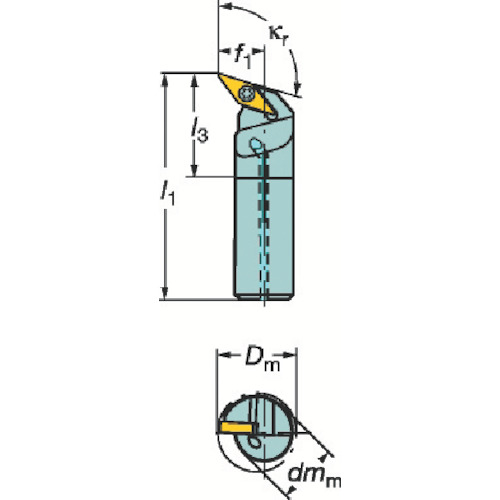 サンドビック コロターン107 ポジチップ用ボーリングバイト A16R-SVQCR 11-E