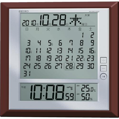 SEIKO 液晶マンスリーカレンダー機能付き電波掛置兼用時計 茶メタリック塗装 SQ421B