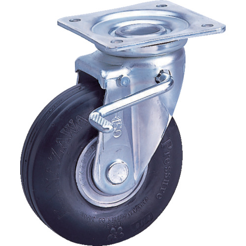 カナツー ゼロプレッシャータイヤ 自在金具S付 許容荷重95kgf 車輪径D200mm ZP-OS 8X2.00MS-BK