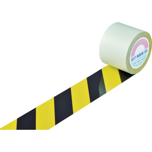 緑十字 ガードテープ(ラインテープ) 黄/黒(トラ柄) 100mm幅×100m 148142