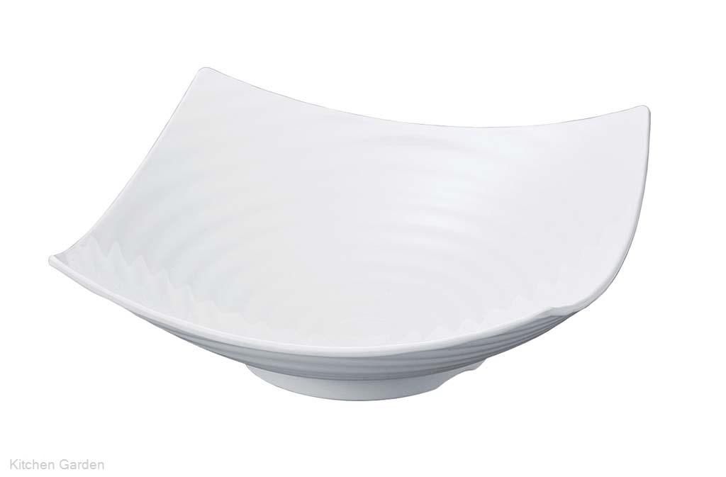ニューホワイト ロクロ目四方上り盛鉢 40cm