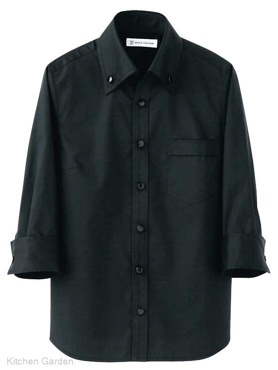 男女兼用 スキッパーボタンダウンシャツ CH4420-9 ブラック L