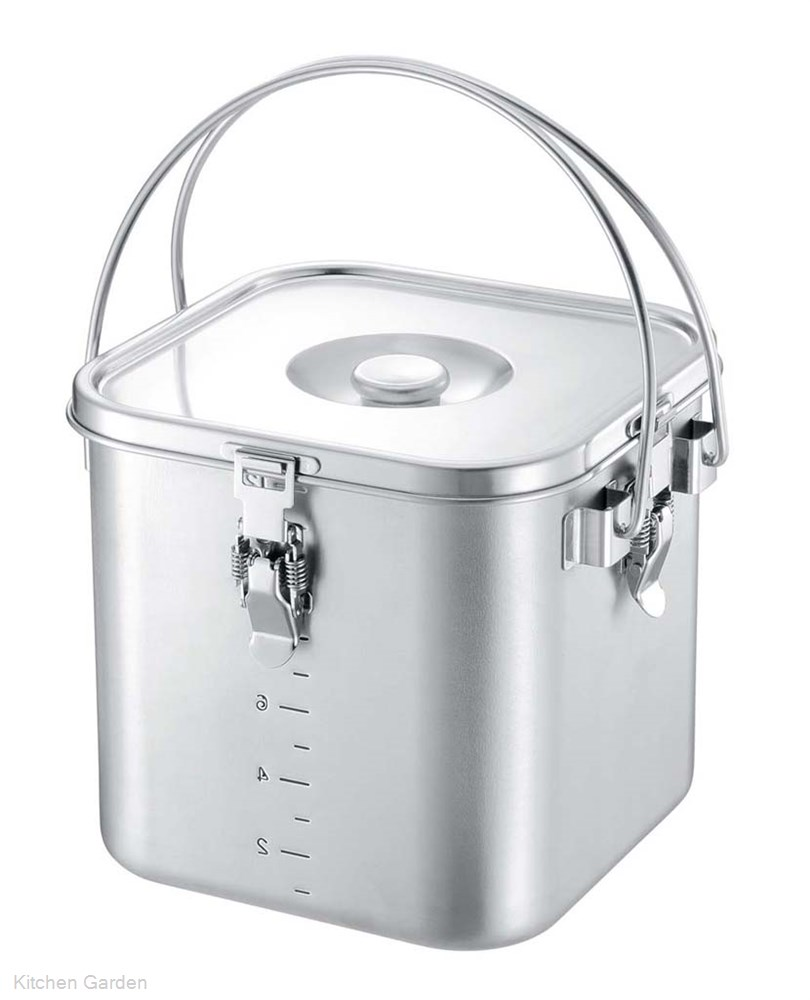 K IH電磁調理器対応 19-0 角型給食缶(目盛付) 18cm .[IH電磁調理器対応]