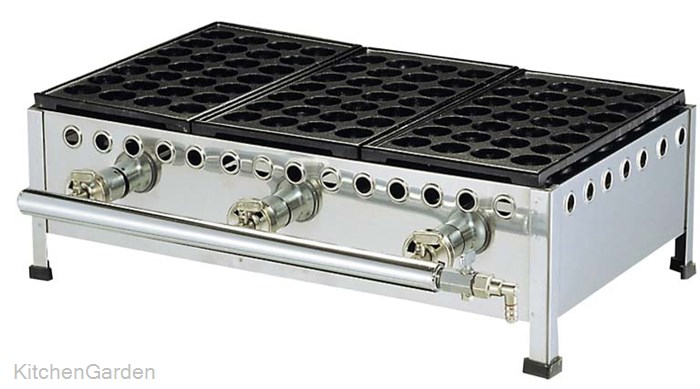 たこ焼台セット 28穴(足付鉄板式)284S 4連式 LPガス用