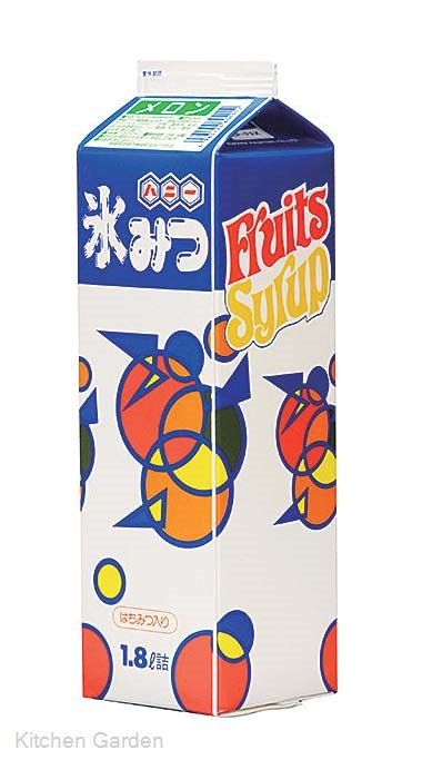 氷みつ フルーツシロップ(はちみつ入り) メロン 1.8リットル [1セット8本入り]【他商品との同梱配送不可・代引不可】