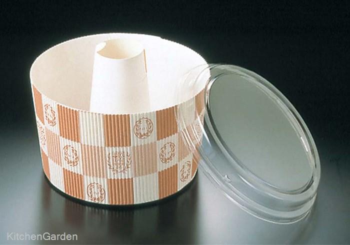 蓋付 シフォンカップ(50枚入)白 エンブレム格子柄 SC-841-A