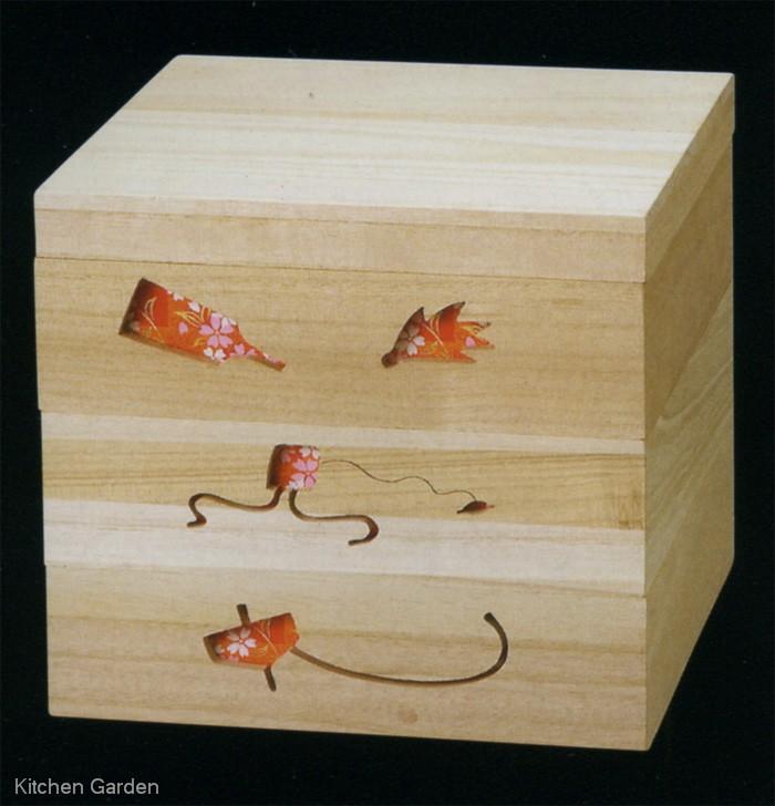 桐製正月のあそび透かし白木重 赤 6.5寸 【3段セット】【他商品との同梱配送不可・代引不可】