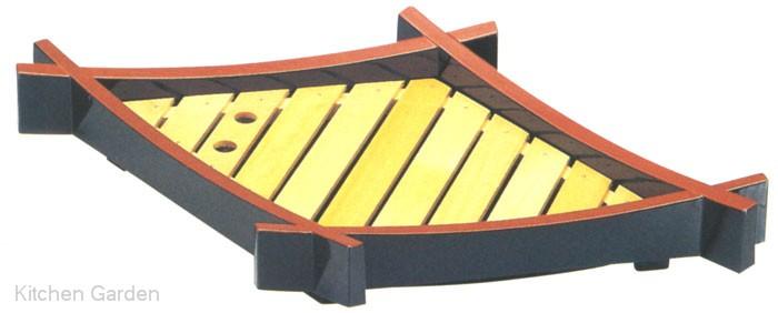 松葉盛器(中)木製目皿付黒天朱セット