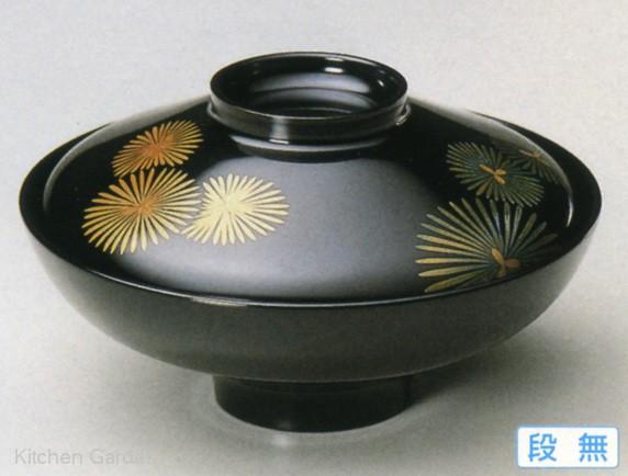 5寸 富士型煮物椀 黒唐松 手塗漆、磨蒔絵【他商品との同梱配送不可・代引不可】