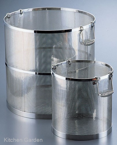 UK18-8 ステンレス  パンチング丸型スープ取りざる 39cm用 .【ステンレス製ざる】