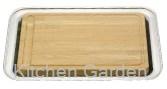 UK木製カッティングボード( 角盆付) .[18-8 ステンレス製]
