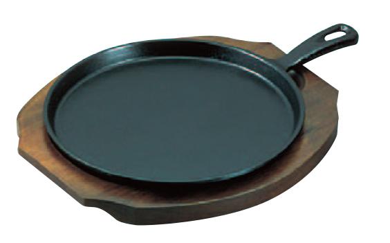 オーブングリル ハンバークに活躍 IH対応ステーキ皿鉄板 アサヒ 柄付ファミリーパン IH電磁調理器対応 大 鉄製 実物 . A-125 新品