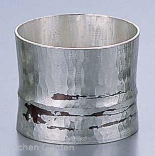 銅錫被 刷毛目竹形1ツ節ぐい呑 平カット SG006 70cc .[銅製]
