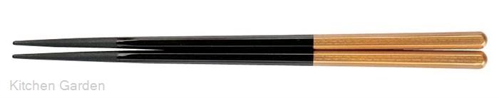 PBT六角箸(10膳入り) 黒/金 90030715