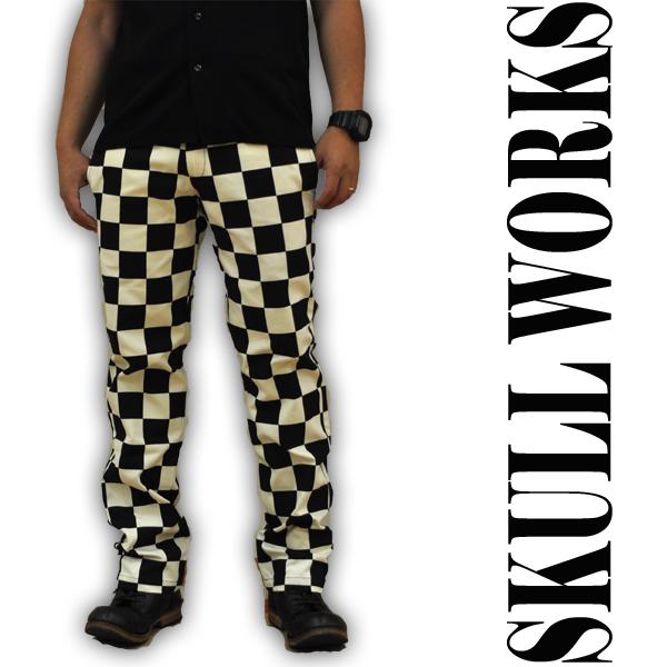 スカルワークス SKULL WORKS 141707 チェッカーキャンバスワークパンツ メンズ