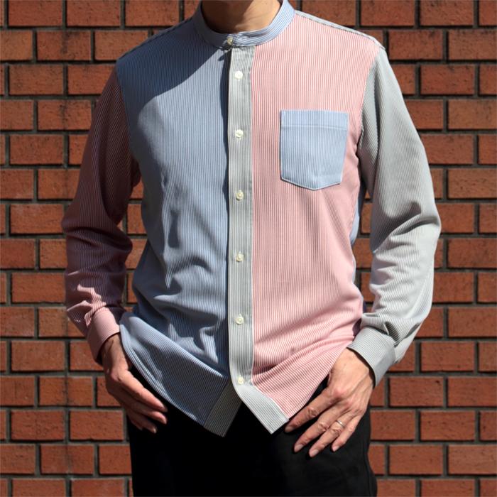 メンズ バンブーストライプ スタンドカラー長袖クレイジーシャツ 日本製(プレゼント ギフト 贈り物 シニア 紳士 男性用 40代 50代 60代)