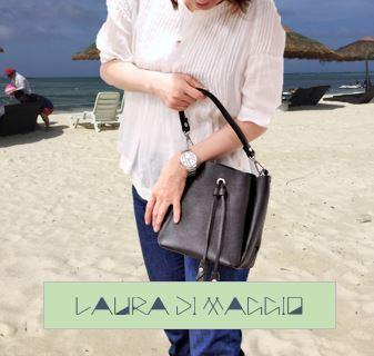 イタリア製 一周年記念 感謝価格!! LAURA DI MAGGIO ハンドバッグ(黒)
