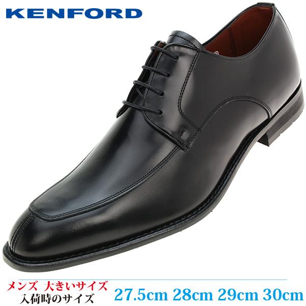 【ビジネスシューズ 紳士靴 30cm 4E メンズ ビッグサイズ】 KENFORD ラウンドトゥ Uチップ 革靴 日本製撥水 幅広 (ケンフォード KB47ABJEB) BLACK (ブラック)