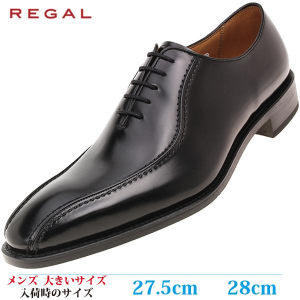 【ビジネスシューズ 27.5cm 28cm メンズ 大きいサイズ】 REGAL ロングノーズ スワール 革靴(リーガル 318R BEEB) BLACK (ブラック)